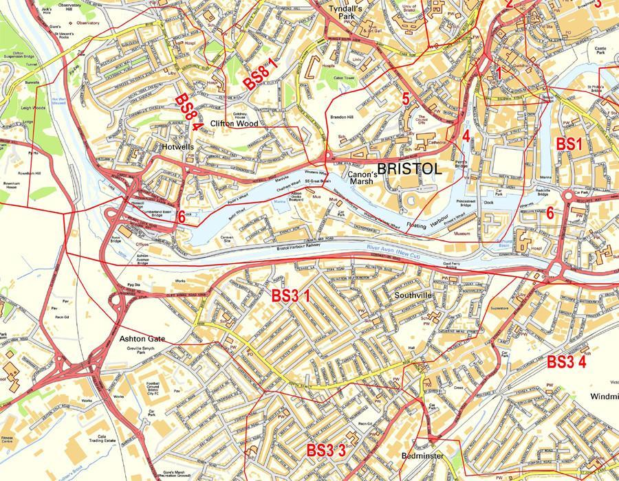 Bristol Postcode Map Postcode City Sector Maps 1 Bristol